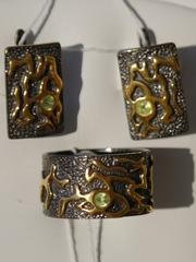 Климта (кольцо + серьги из серебра)