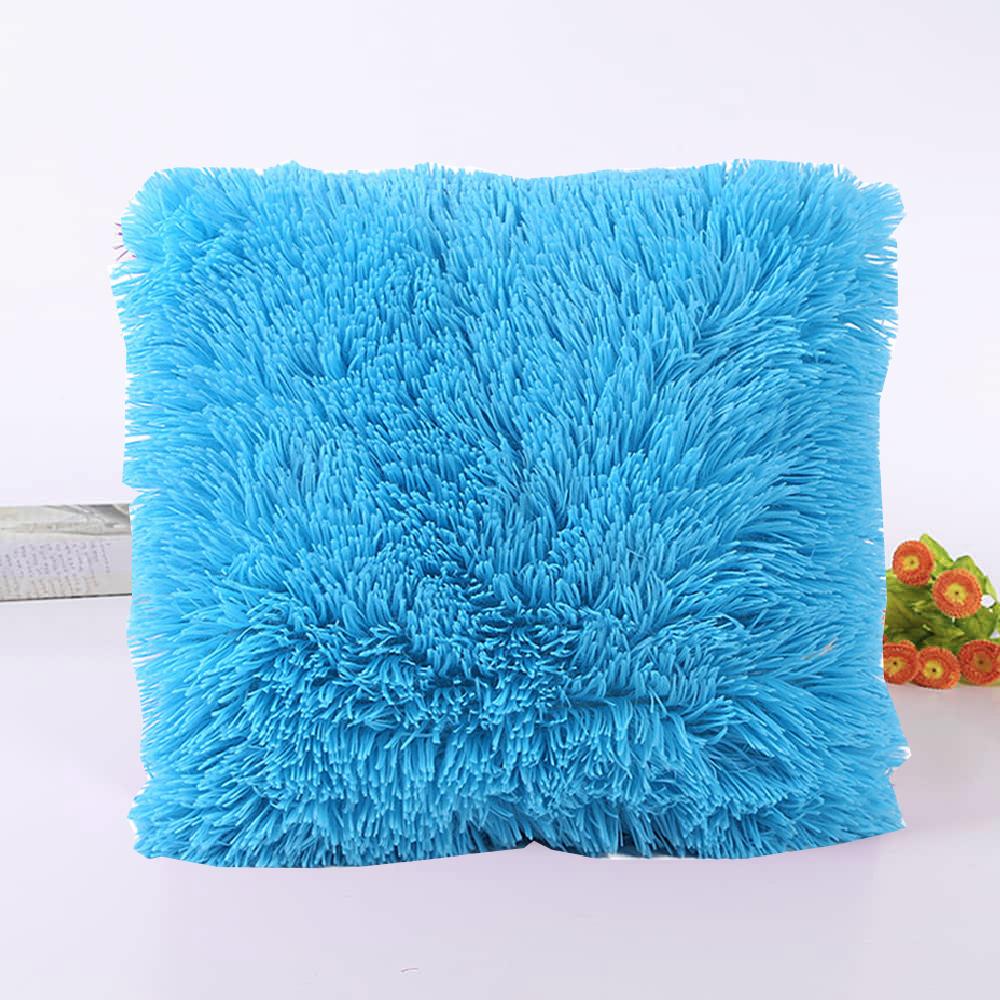 Подушка интерьерная с длинным ворсом голубого цвета