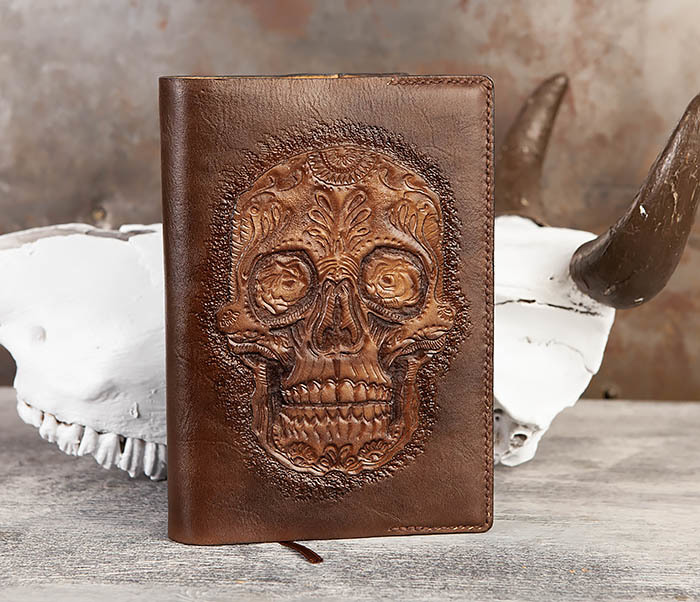 BC189 Кожаный ежедневник с черепом в «День Мертвых» (А5)