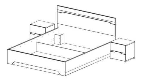 Спальня Анталия-1 Горизонт дуб сонома, белый софт