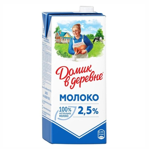 Молоко ДОМИК В ДЕРЕВНЕ 2,5% 0,95 л т/п