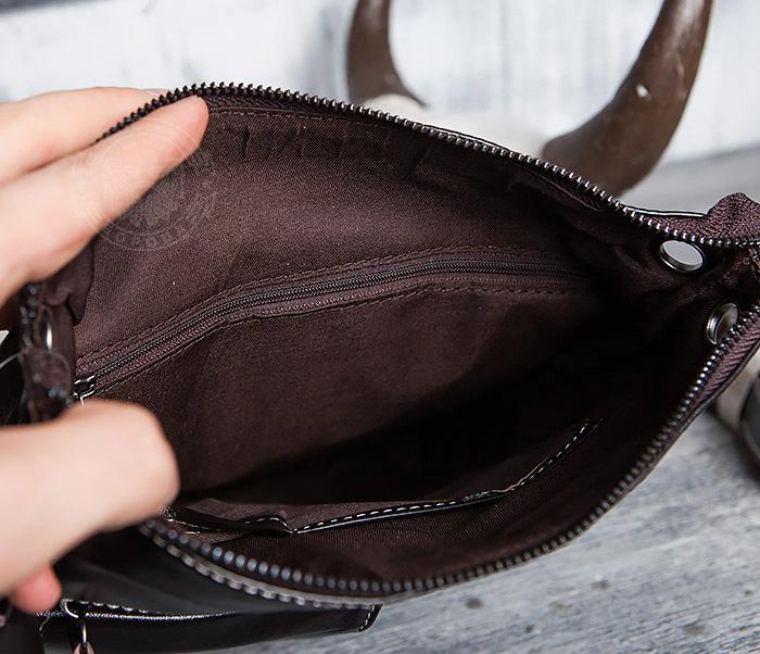 BAG403-2 Красивая мужская сумка из кожи с ремнем на плечо фото 12