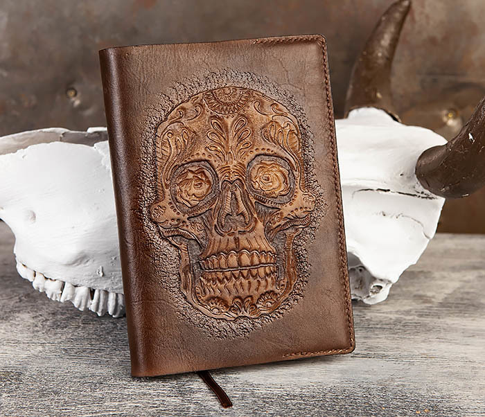 BC189 Кожаный ежедневник с черепом в «День Мертвых» (А5) фото 02