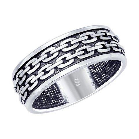 95010120 - Кольцо Звенья из чернёного серебра