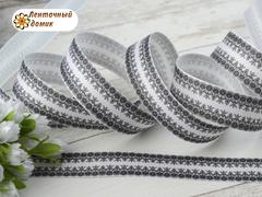 Лента репсовая Мелкий черный узор на белом ширина 25 мм