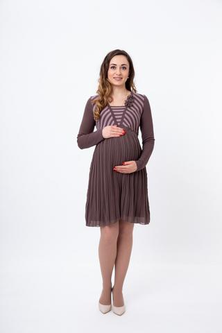 Платье для беременных 05703 коричневый-розовый