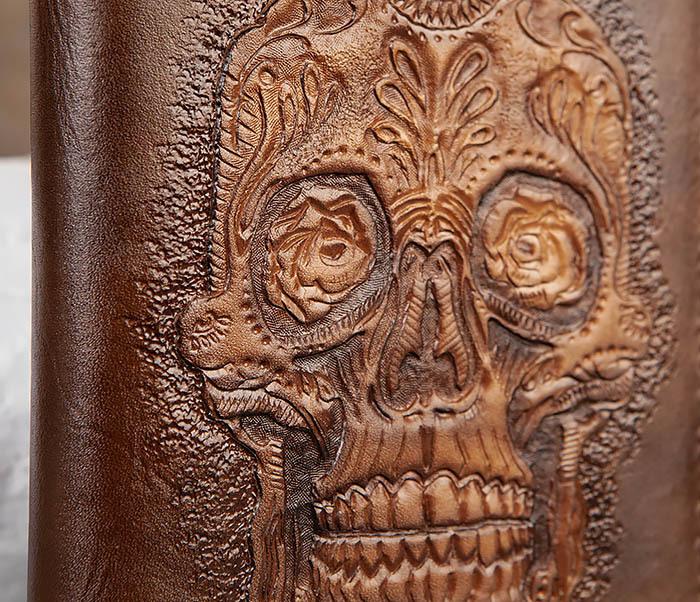 BC189 Кожаный ежедневник с черепом в «День Мертвых» (А5) фото 03