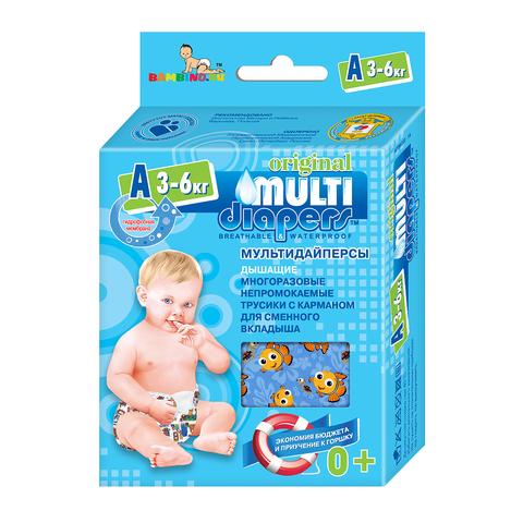 Многоразовые подгузники-трусики Multi-Diapers Original бежевый узор