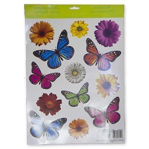 Наклейка на окно Бабочки Цветы 15шт/A