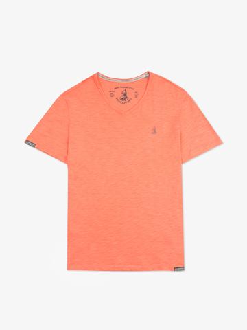 Мужская футболка «Великоросс» персикового цвета V ворот