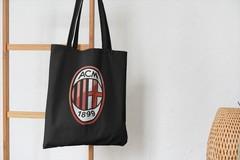 Сумка-шоппер с принтом FC ACM Milan (ФК Милан) черная 002