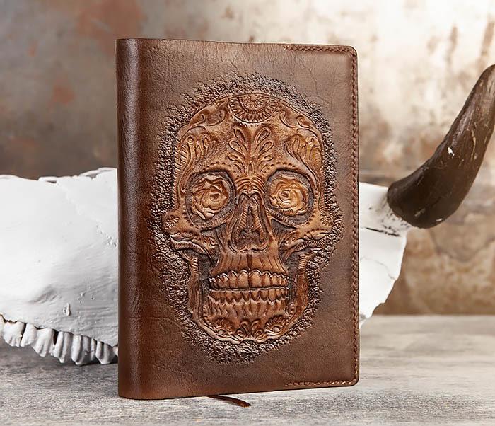 BC189 Кожаный ежедневник с черепом в «День Мертвых» (А5) фото 04