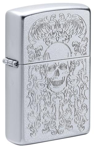 Зажигалка Zippo Skull Design с покрытием Satin Chrome, латунь/сталь, серебристая