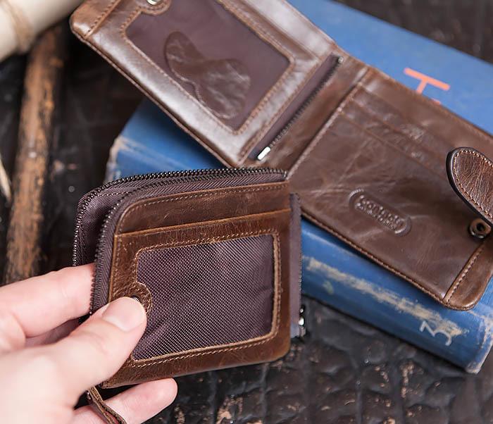 WL253-2 Мужское портмоне на застежке из натуральной кожи фото 09