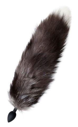 Черная силиконовая анальная втулка с хвостом чернобурой лисы - размер S