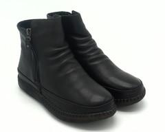 527ц Ботинки черные натур кожа на литой подошве