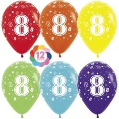 S 12'' Цифра 8 (звезды), Ассорти, пастель, 5 ст, 12 шт.