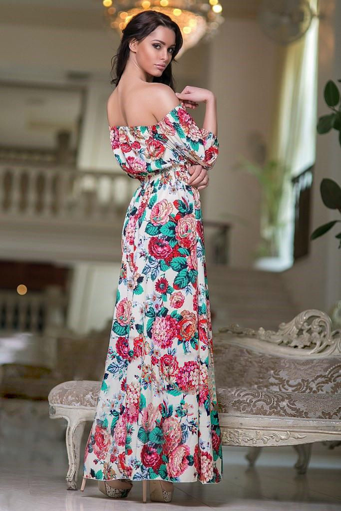 Длинное летнее платье с принтом Цветы