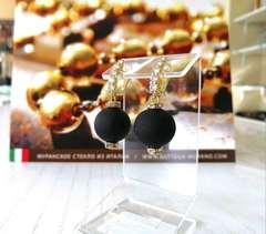 Серьги из муранского стекла со стразами Franchesca цвет Black Matt 064O