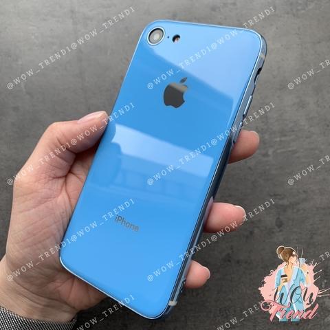 Чехол iPhone 7/8 Glass Silicone Case Logo /blue/