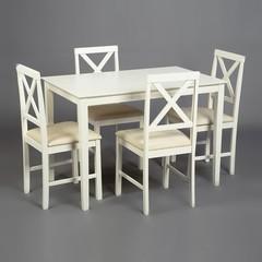 Обеденный комплект эконом Хадсон (стол + 4 стула)/ Hudson Dining Set дерево гевея/мдф, Ivory white, ткань кремовая (HE490-01)
