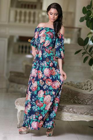 Длинное летнее платье, цвет синий