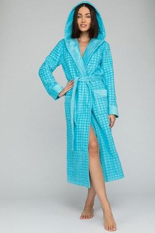 Махровый халат с капюшоном Ultra Doux (PM France 741) бирюза