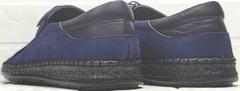 Летние туфли мужские мокасины перфорация стиль smart casual Luciano Bellini 91268-S-321 Black Blue.