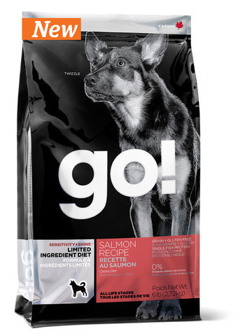 сухой беззерновой корм GO! Гоу для щенков и собак всех пород с лососем для чувствительного пищеварения