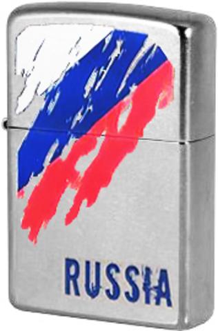 Зажигалка Zippo Russia Flag с покрытием Street Chrome™, латунь/сталь, серебристая, матовая123
