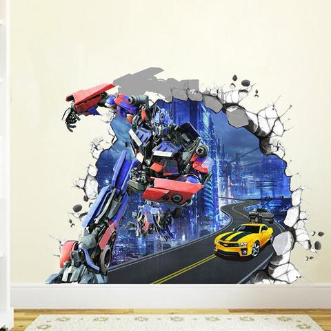 Трансформеры 3D Наклейка Оптимус Прайм и Бамблби — Transformers Optimus Prime & Bumblebee Wall Sticker 3D