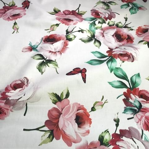 Ткань хлопок сатин  с эластаном розы на белом 2073