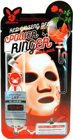Регенерирующая тканевая маска для лица с экстрактом красного женьшеня Elizavecca Red Ginseng Deep Power Ringer Mask Pack