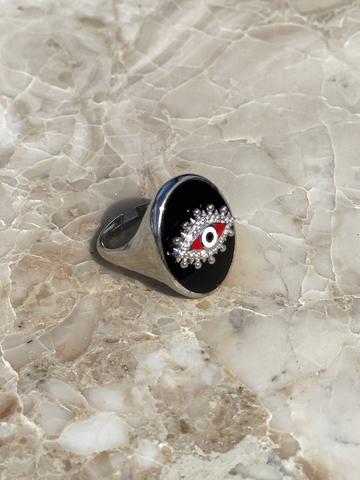 Кольцо-печатка Око из серебра с черной эмалью