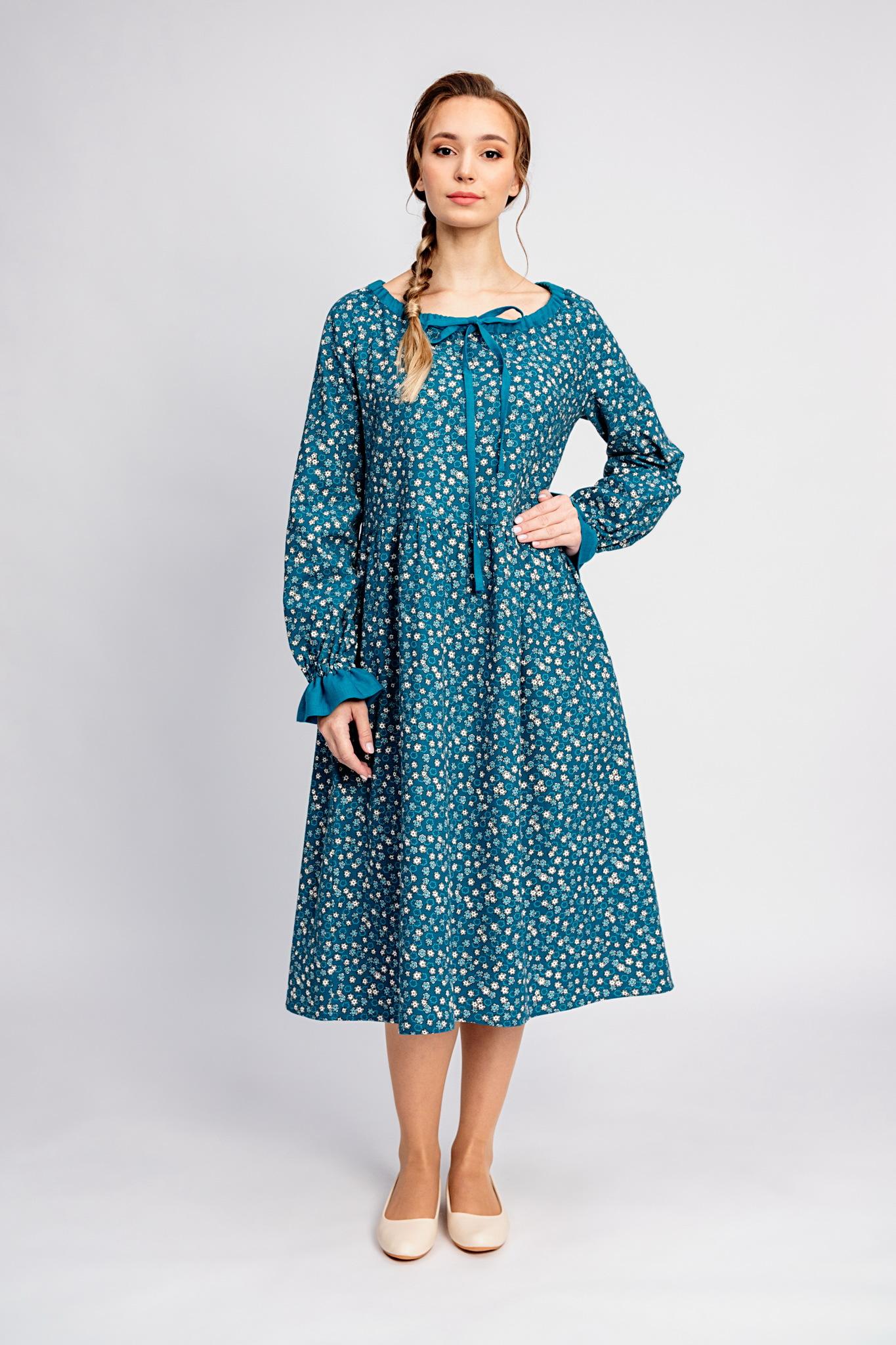 Платье из теплого хлопка Бирюзовая Катунь