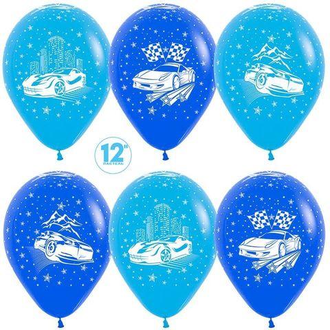 Шар (12''/30 см) Машины, Синий (041)/Голубой(040), пастель, 5 ст.