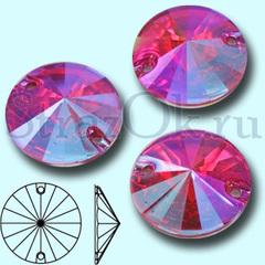 Стразы пришивные Rivoli Rose AB, Риволи Круг Розе АБ розовые для рукоделия