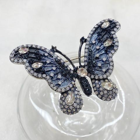 Брошь Бабочка с фианитами глазурь серый черный