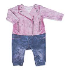 Папитто. Комбинезон для девочки с розовой курткой FASHION JEANS вид 1
