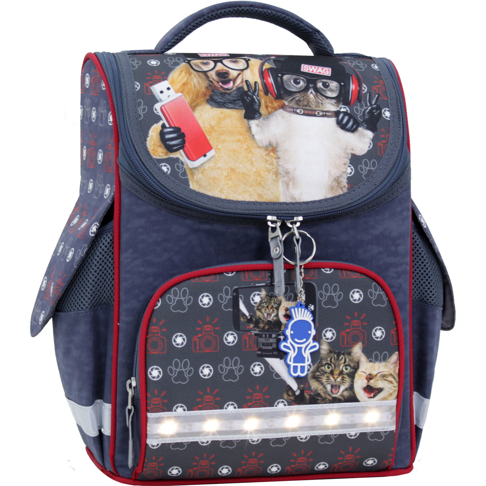Школьные рюкзаки Рюкзак школьный каркасный с фонариками Bagland Успех 12 л. серый 188к (00551703) IMG_0051.JPG