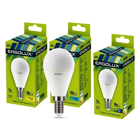 Лампа Ergolux LED-G45-9W-E14-3K шар (теплый свет)