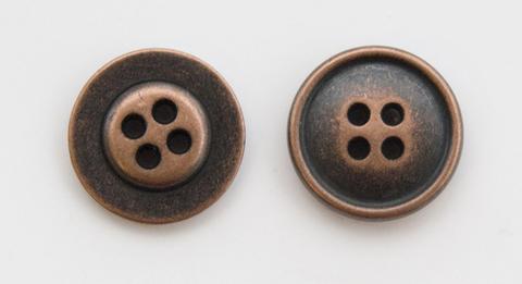 Пуговица металлическая, двусторонняя, цвет медный, 18 мм