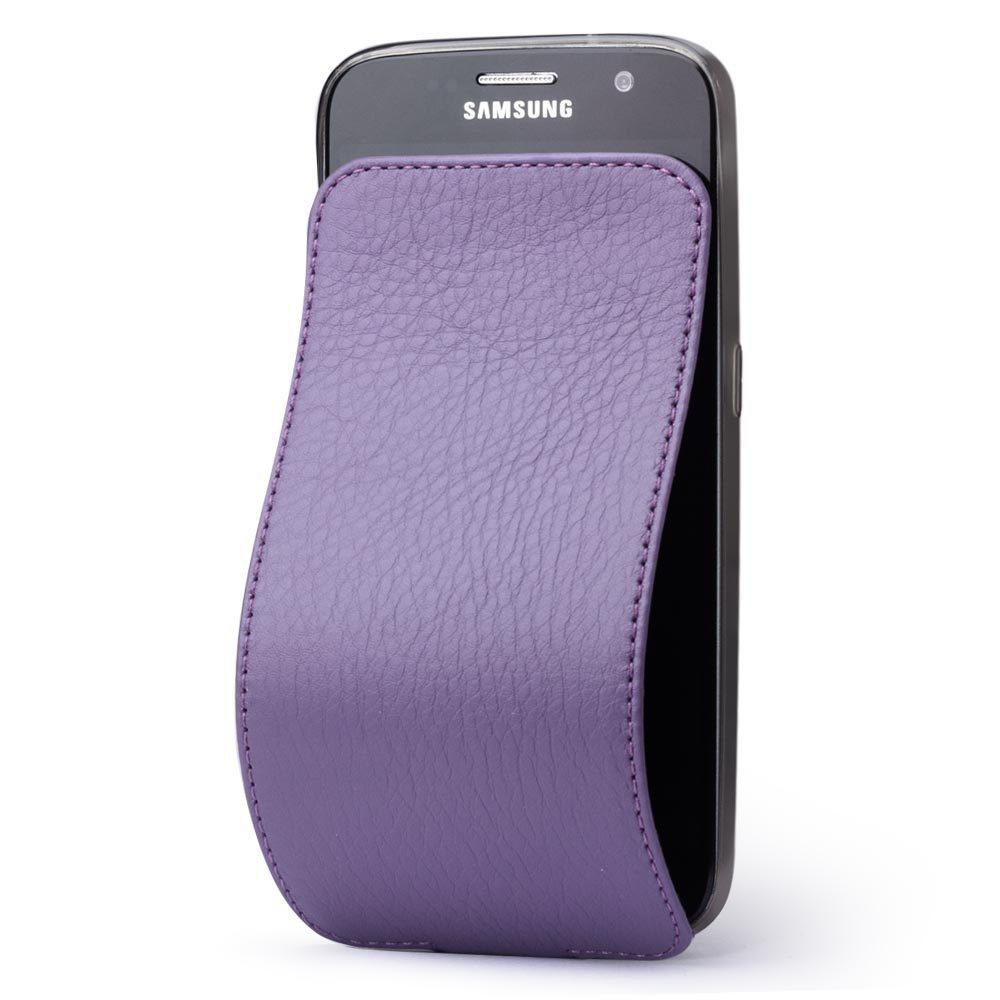 Чехол для Samsung Galaxy S7 из натуральной кожи теленка, фиолетового цвета
