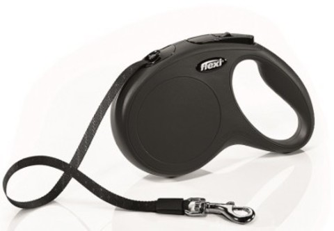 Flexi поводок-рулетка New Classic M (до 25 кг) 5 м лента (черная)