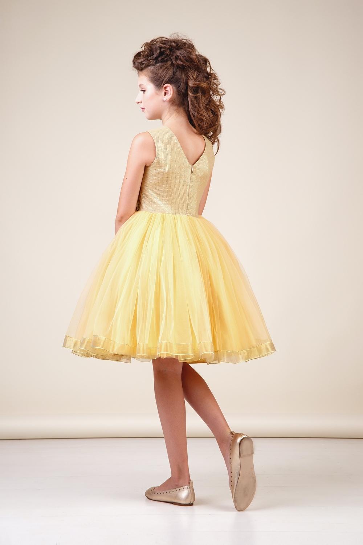 Платье золотистое для девочки 38-8034-1
