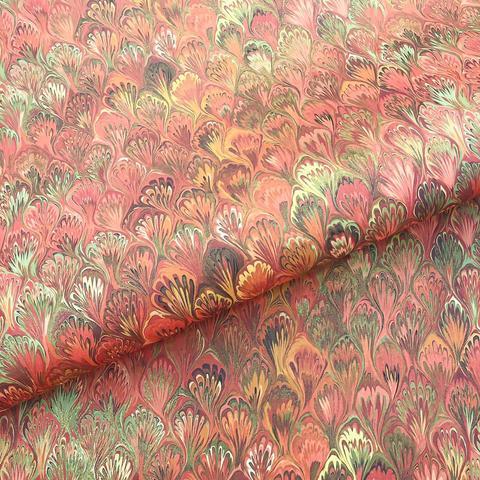 Бумага декоративная упаковочная Мраморная красная