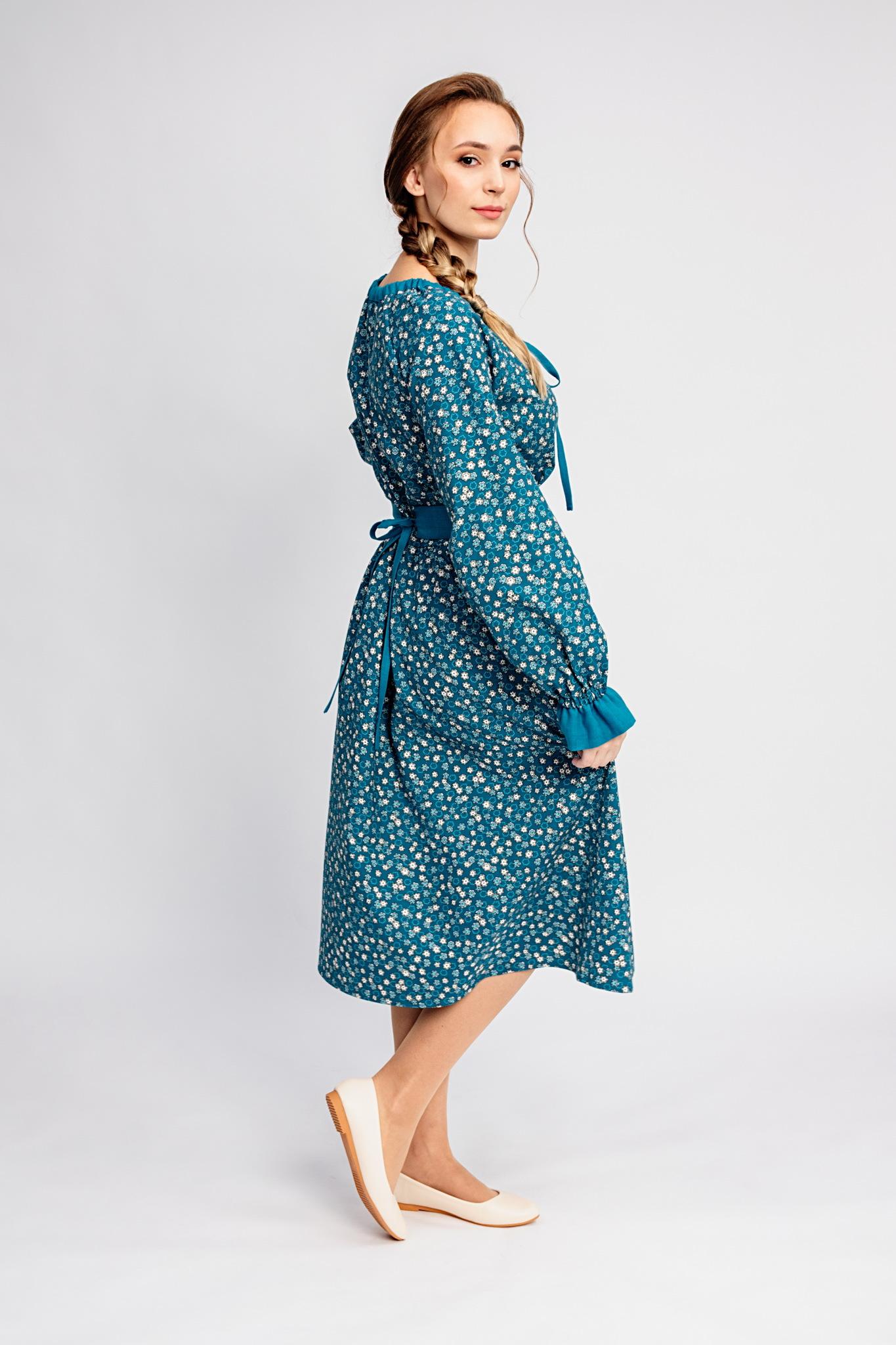 Платье с карманами теплое Бирюзовая Катунь