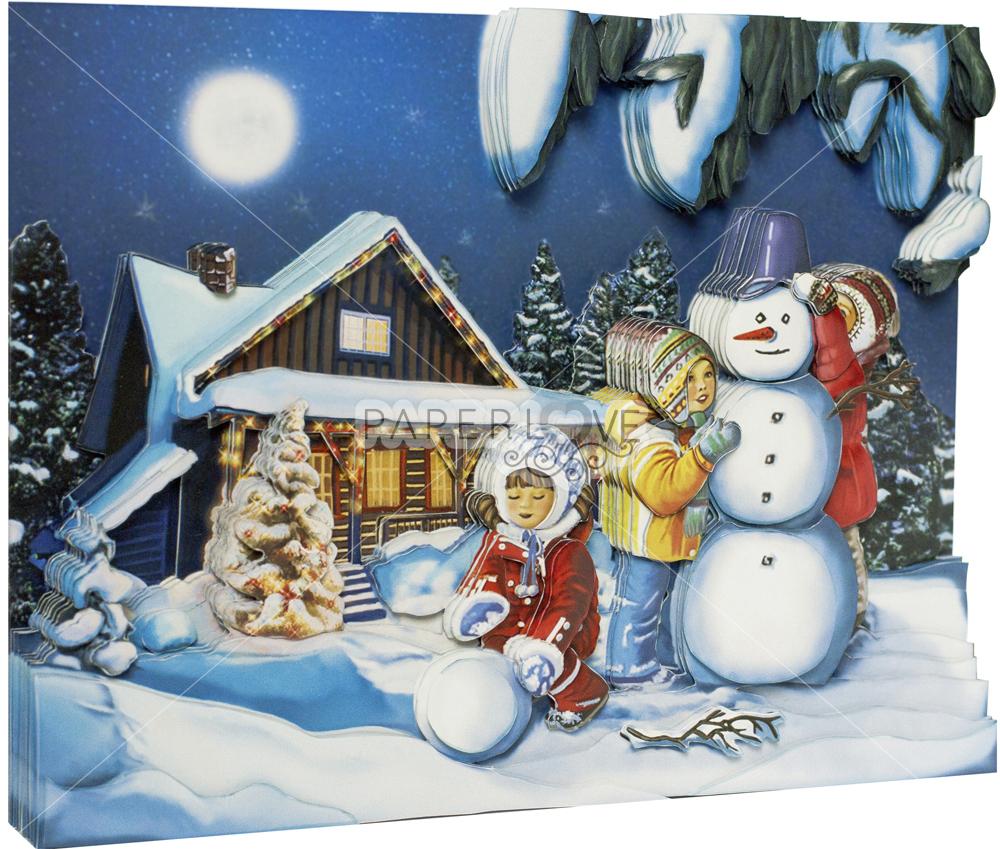 Папертоль Зимние каникулы – собранная модель, вид сбоку