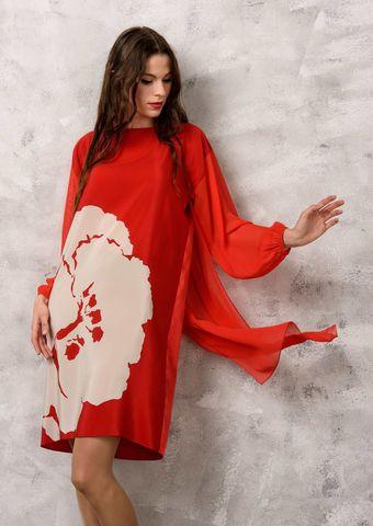 Фото алое шелковое платье со шлейфом - Платье З151-138 (1)