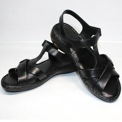 Черные босоножки на низком каблуке Evromoda 15 Black.